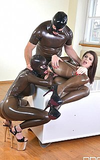 BDSM threesome action features latex costumes and fisting