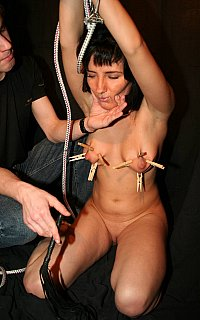 Breasts clamping and whipping BDSM torture