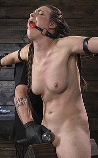 Forcing BDSM trainee to cum in bondage