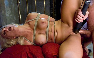 Slave Holly Heart is climaxing hard in rope restraints