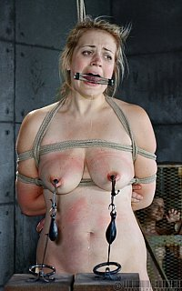 Tits tortured with heavy weal weight clamps